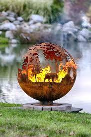 Up North Custom Fire Pit – Design Your Own - Feuerstelle im Garten Fire Pit Sphere, Metal Fire Pit, Diy Fire Pit, Fire Pit Backyard, Backyard Seating, Backyard Ideas, Fire Pit Landscaping, Landscaping With Rocks, Cheap Outdoor Fire Pit