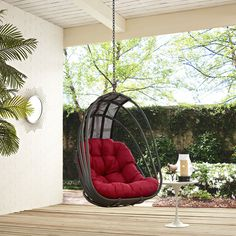 Whisk Red Fabric PE Rattan Steel Frame Outdoor Patio Swing Chair Balcony Swing, Outdoor Patio Swing, Porch Swing, Front Porch, Hanging Swing Chair, Hammock Chair, Swinging Chair, Swing Chairs, High Chairs
