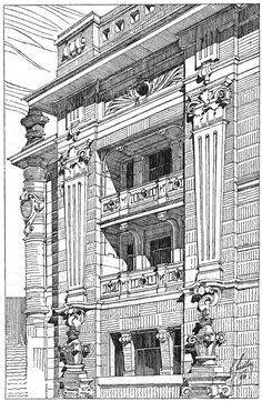 Architectural sketch. Architect Ladislaus Fiedler.
