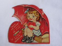 vintage Valentines Day card girl and umbrella vintage by roseluv, $4.00