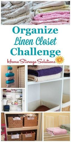 Here are step by step instructions for how to organize your linen closet, including organizing sheet sets, towels, blankets, pillows, and table linens {part of the 52 Week Organized Home Challenge on Home Storage Solutions 101} #LinenClosetOrganization #OrganizeLinenCloset #OrganizingLinenCloset Linen Closet Organization, Home Organization Hacks, Closet Storage, Organizing Your Home, Bedroom Storage, Organizing Tips, Organising, Bathroom Organization, Cleaning Tips