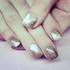 Nude and gold glitter gel nails
