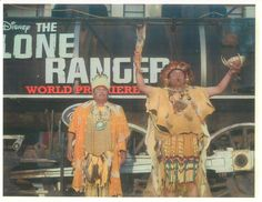 Chief Red Blood Anthony Morales and his Son Andrew performing a blessing at the premiere of The Lone Ranger
