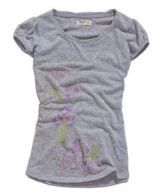 Another great find on #zulily! Light Gray Melange Floral Puff-Sleeve Tee by TIMEOUT #zulilyfinds $15