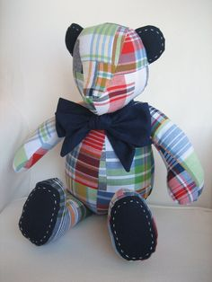 MADE TO ORDER - Zachary - Madras Fabric Teddy Bear using fabric from Pottery Barn Kids Navy Madras Bedding Collection $60 etsy
