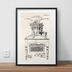 Qwert machine patent poster - DIGITAL PRINTABLE poster - Instant DOWNLOAD - jpg-file - A4
