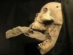 The remains of a female 'vampire' from 16th-century Venice, buried with a brick in her mouth to prevent her feasting on plague victims.