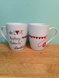 I do LOVE Knitting Patterns Porcelain Mug Handdrawn Dumbledore by Tangerine8 on Etsy