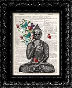 Buddha Butterflies -  Vintage Dictionary Print Vintage Book Print Page Art Upcycled Vintage Book Art. $8.98, via Etsy.