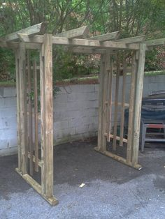 Rustic Arbor Out Of Landscape Timbers- For Daughters and Whats-his-name's Wedding