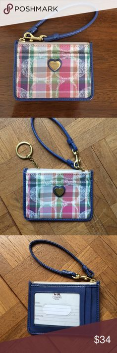 Nwot coach ID/key ring Nwot coach ID/key ring. Wristlet. Cute colors purple & pink. Front pocket & back can hold cards. Coach Bags Clutches & Wristlets