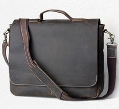 "Men Handmade Vintage Leather Briefcase / Leather Messenger Bag / 13"" 15"" MacBook 13"" 14"" 15"" Laptop Ba"