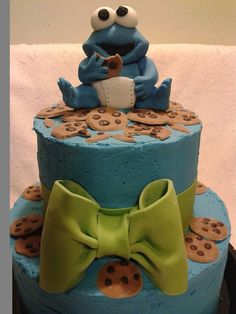Baby Cookie Monster Cake for a Baby Shower