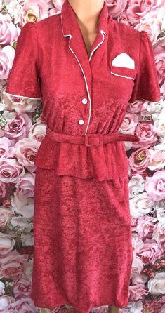 Women's Sz 7 Small Vintage Pink Terry Dress S Ruffle House   | eBay