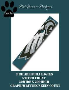 Philadelphia Eagles Scarf 30x200 SC Crochet Graph Pattern with