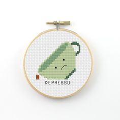 Depresso cross stitch pattern (instant download) Depresso is the feeling when you run out of coffee ----------------------------------------------------- Pattern information: Fabric: 14 count Aida white Stitches: 42*42 Size: Width: 3 (7,6 cm) Height 3 (7,6 cm) 5 DMC Colors Used stitches : cross stitch and back stitch 2 PDFs Included: - preview image of the finished design - colour symbol chart - black and white symbol chart - color floss legend with DMC stranded cotton ------------...