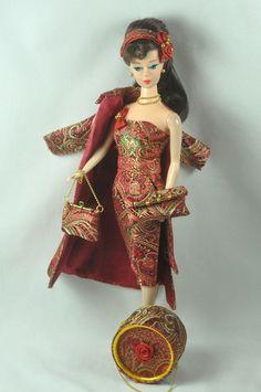 Handmade Vintage Barbie/Silkstone Fashion by P.Linden Red & Gold 11pc Ensemble #FITSVINTAGEREPRODUCTIONSANDSILKSTONEBARBIE