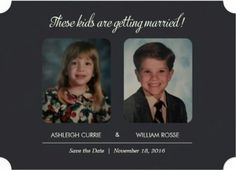 Childhood pictures for Save the Dates. Cute Save the dates idea. Fairly cheap on…