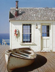 """""""Boat on Dock"""" shabby chic cottage beach seaside bungalow"""