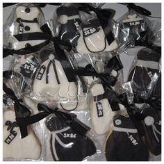 Dress,shoes and hand bag cut out decorated cookies in black and white. For orders or inquiries,please email us at mail@myvanillapod.com