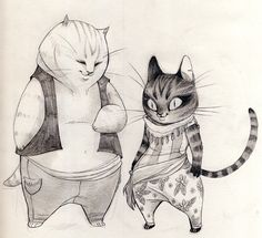 """leppu:My two cats Hema and Näkki have such different """"character designs"""" they're always fun to draw!"""