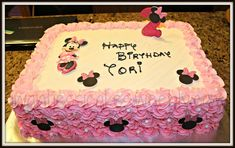 minnie mouse sheet cake | Minnie mouse sheet cake with ombre rosette's around the side. simple ...