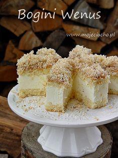 Bogini Wenus | MOJE CIACHO Baking Recipes, Cake Recipes, Food Cakes, Vanilla Cake, Cheesecake, Food Porn, Cookies, Zero Waste, Squares