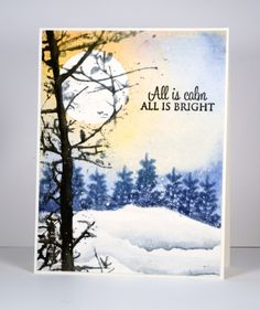 Soft Whisper, All is bright, Prancers: PB, Black Soot, Stormy sky distress inks… Christmas Cards To Make, Xmas Cards, Christmas Art, Holiday Cards, Greeting Cards, Penny Black Cards, Penny Black Stamps, Watercolor Christmas Cards, Watercolor Cards