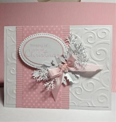 Pink Christmas Card Merry Monday #53 by deckols - Cards and Paper Crafts at Splitcoaststampers