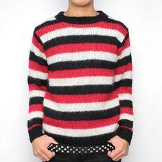モヘア セーター(ブラック/レッド/ホワイト)