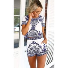 Hot Tapestry Print Two Piece Top + Short Set