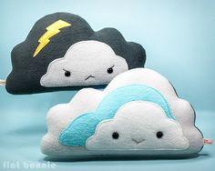 Cloud reversible plush pillow - Handmade happy / stormy cloud