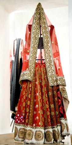 Red Lengha - see more inspiration @ http://www.ModernRani.com