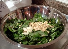 Basil, toasted pine nuts, salt and olive oil - the starting point for pesto
