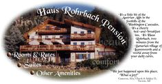 Leavenworth Washington Bed and Breakfast, Haus Rohrbach Pension - lodging accomodations for travel, pleasure and romantic getaways.