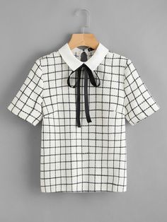 Preppy Button and Tie Neck Plaid Top Regular Fit Collar Short Sleeve Black and White Bow Tie Neck Grid Blouse Teen Fashion Outfits, Work Fashion, Cool Outfits, Casual Outfits, Fashion Design, Fashion Models, Fashion Dresses, Fashion Trends, White Bow Tie