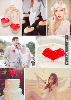 Hearts and Arrows Inspiration Board ~ inspired by Valentine's Day. A heart themed wedding is chic and kitsch while red & white is always a winner in my book! | CHECK OUT MORE IDEAS AT WEDDINGPINS.NET | #weddings #redwedding #red #passion #events #forweddings