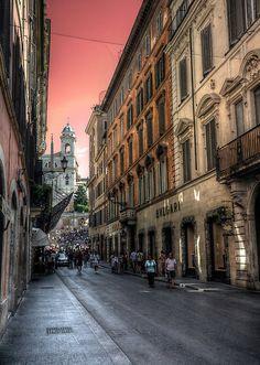 Via dei Condotti, Rome, with the Spanish Steps in the background.
