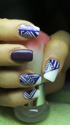 White and purple nails- Abstract nails