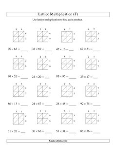 math worksheet : lattice multiplication worksheets for 4th grade  worksheets : Lattice Method Multiplication Worksheet