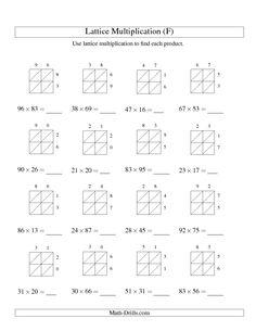 math worksheet : multiplication multiplication problems and lattices on pinterest : Lattice Method Multiplication Worksheets