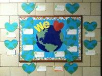 Globe bulletin board - for multi-cultural stuff as well as earth day, marking countries from which our students have immigrated.