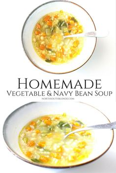 Homemade soup for the whole family - How to make a batch of homemade vegetable soup to save in the fridge for the rest of the week. Homemade Vegetable Soups, Homemade Soup, Crockpot Recipes, Soup Recipes, Healthy Recipes, Navy Bean Recipes, Toddler Meals, Toddler Food, Navy Bean Soup
