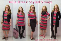 Love all the ways I can style my #LuLaRoe Julia dresses!  Here I am wearing 1 Julia dress styled 5 ways.  Please visit my Facebook page for more styling tips & to buy LuLaRoe. #lularoeheathersarra https://www.facebook.com/groups/LuLaRoeHeatherSarra