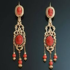 1830 Georgian coral cameo chandelier dangle earrings 18kt red gold