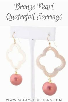 2ac1430722b4f1 Bronze faux pearl women's earrings with quatrefoil connector. Perfect for  date night or lunch with