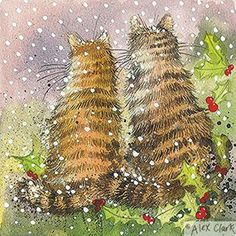 Alex Clark Charity Christmas Cards Cats in the Holly Pack of 5 + 1 Free Alex Clark Card with every order