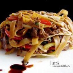 Gyömbéres-mézes kacsamell wokban sütve Wok, Japchae, Steak, Curry, Beef, Chicken, Ethnic Recipes, Kitchen, Drinks