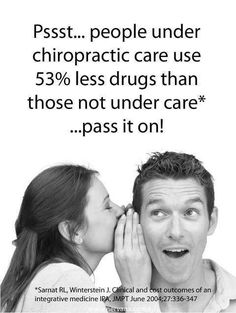 #ChiroFact : People under chiropractic care use 53% less drugs than those not under care.