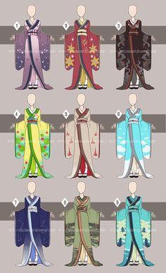 Kimono Time[Open by Seelenbasar. Anime Kimono, Anime Dress, Anime Uniform, Drawing Anime Clothes, Dress Drawing, Fashion Design Drawings, Fashion Sketches, Anime Outfits, Mode Outfits